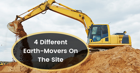 4 Different Earth-Movers On The Site